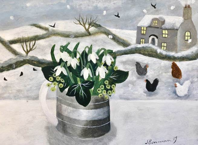 Sarah Bowman, Hens in Snow (Hungerford Gallery)