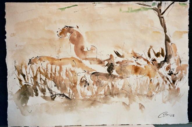 Christine Seifert, Lions (Hungerford Gallery)