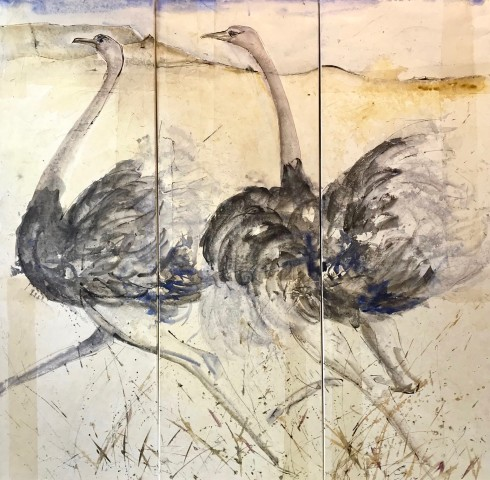Christine Seifert, Two Ostrich Triptych (Hungerford Gallery)