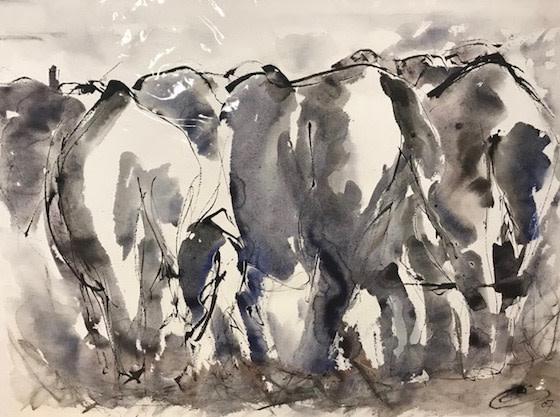 Christine Seifert, Elephants Away (Unframed) (Hungerford Gallery)