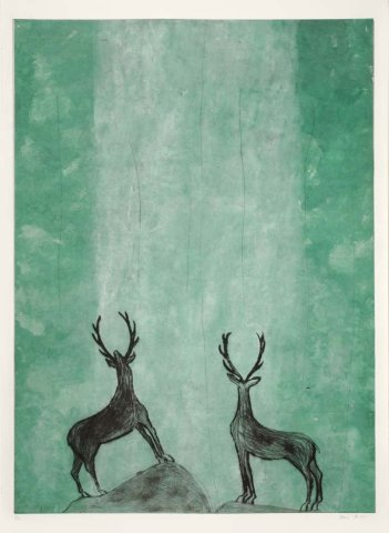 Kate Boxer, Ooooh (Stags admiring a waterfall) (Mounted)