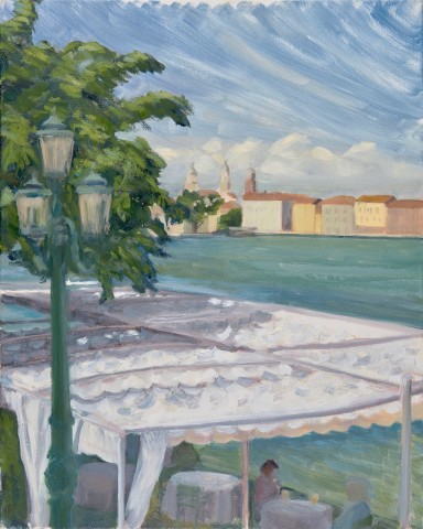 Celia Montague, Windy Day at Harry's Dolci, Venice (London Gallery)