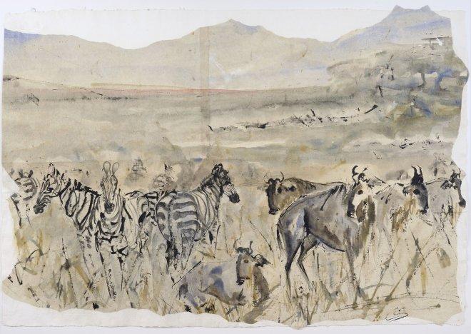 Christine Seifert, Zebra and Wildebeast (Unframed) (Hungerford Gallery)