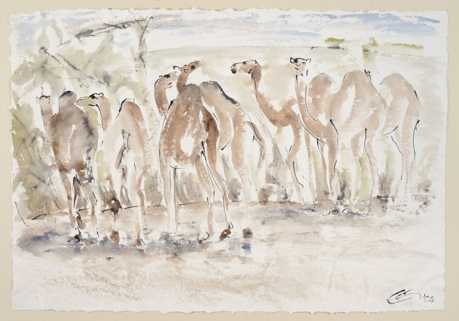 Christine Seifert, Herd of Camels (Unframed) (Hungerford Gallery)