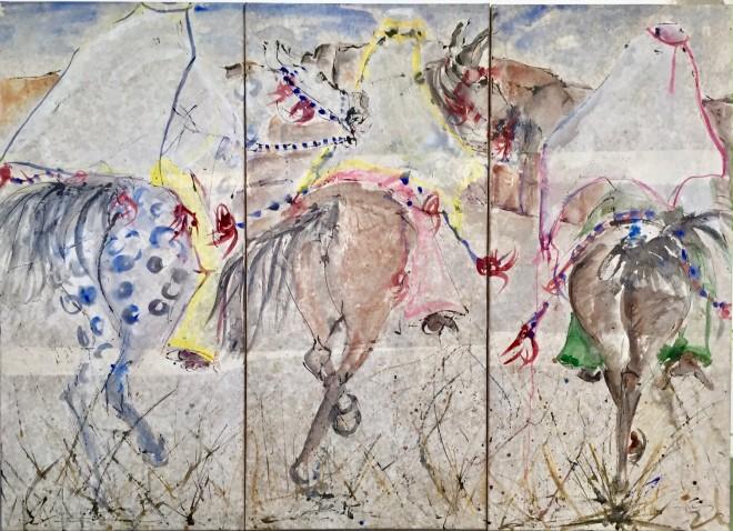 Christine Seifert, Three Ethiopian Gallop Triptych (London Gallery)