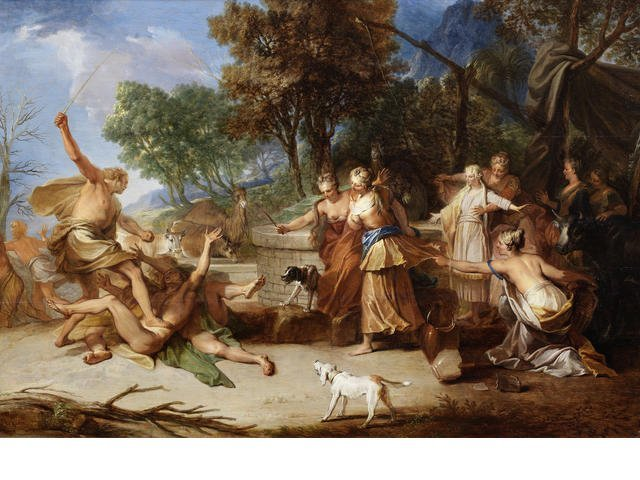Nicolas BERTIN, Moses defending the daughters of Jethro