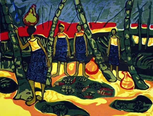 Bruce Onobrakpeya, Palmwine Women: A Revisit of the Sunshine Period (1960 - 70)