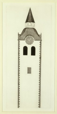 David Hockney, The Church Tower and the Clock from Illustrations for Six Fairy Tales from the Brothers Grimm, 1969