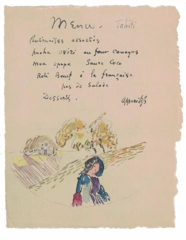 Paul Gauguin, Menu-Tahiti, c. 1899-1901