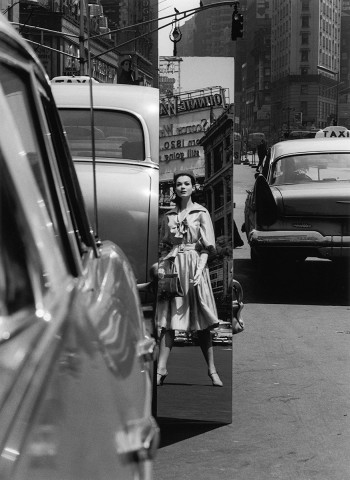 Sandra + Mirror, Times Square, New York (Vogue)