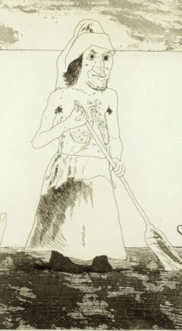 David Hockney, The Enchantress in her Garden from Illustrations for Six Fairy Tales from the Brothers Grimm, 1969