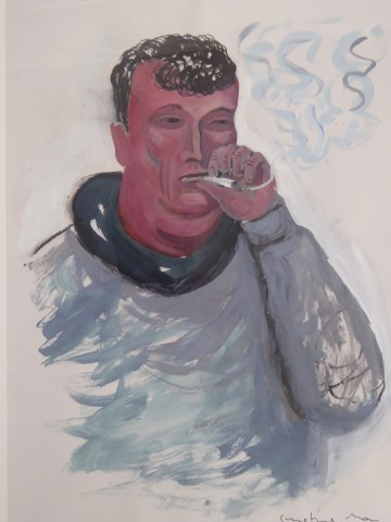 Ed Gray, Smoking Fan (Study for Arsenal Adoration at the Emirates), 2014