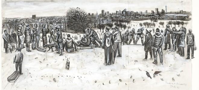 Ed Gray, Sledgers, Primrose Hill (Monochrome), 2011