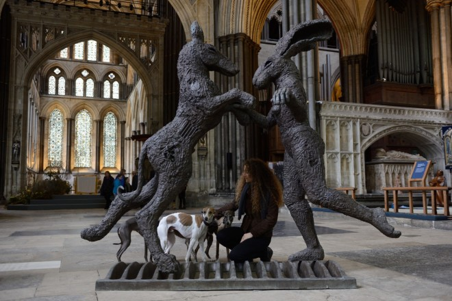Sophie Ryder, Pink Lady Dancing with Big Brown Dog, 2000