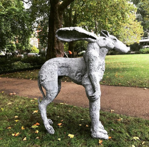 Sophie Ryder, Standing Lady Hare with Dog, 2000