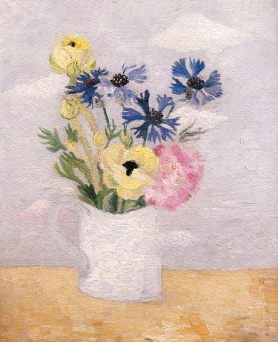Anenomes, Cornflowers & Pinks in a White Mug