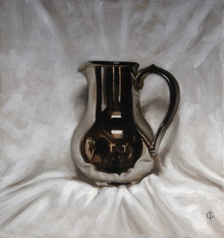 Silver-Glazed Jug Against White Cloth