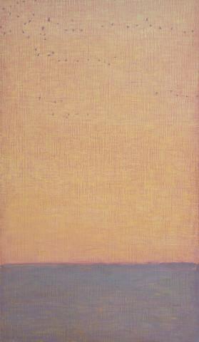 David Grossmann, Strands of Geese on Orange Sky