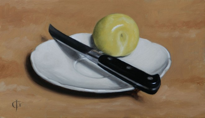 Green Plum on a White Saucer with Knife