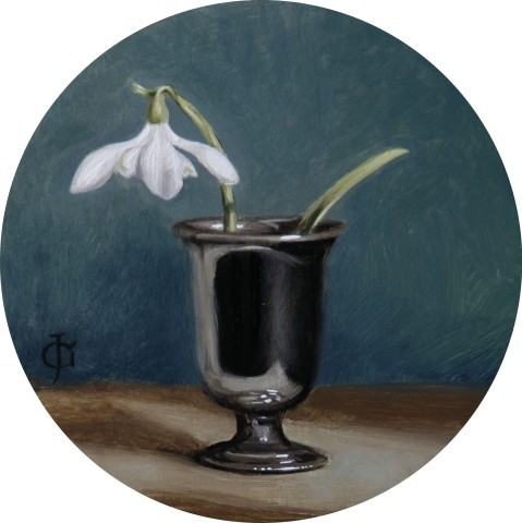James Gillick, Lone Snowdrop in Small Silver Vase, 2015