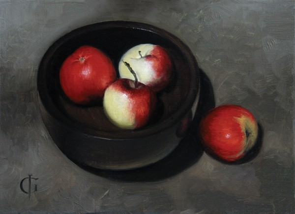 Apples in an Ebony Bowl