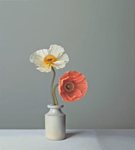 Jo Barrett, Still Life with Orange and White Icelandic Poppies
