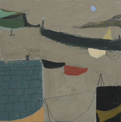 Nicholas Turner, Harbour wall with Boats