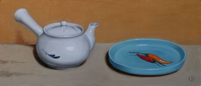Chinese Teapot, Chillies & Ruskin Dish