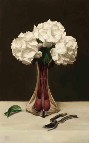 James Gillick, White Hydrangeas in a Trumpet Vase
