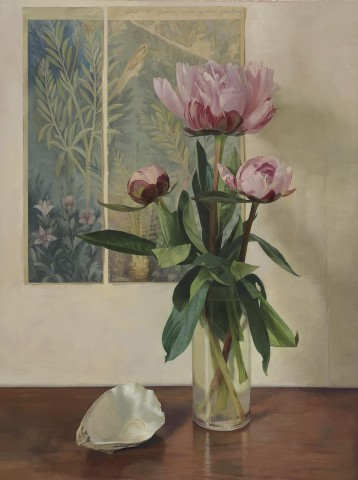 Susan Angharad Williams, Peonies, Garden Fresco and Oyster Shell