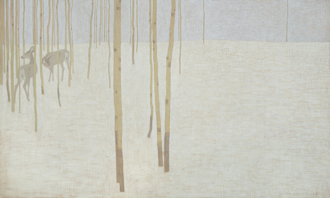 David Grossmann, Two Deer in Winter Colours