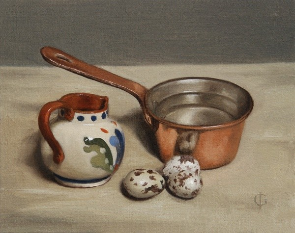 James Gillick, Jug, Copper Pan and Quail Eggs