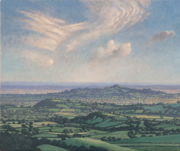 James Lynch, Half Moon and Cirrus Clouds over Glastonbury Tor
