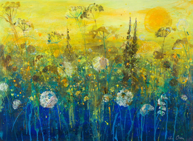 Ann Oram, Seedheads, Orange Sky and Late Summer Sun