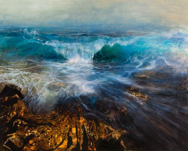 Beth Robertson Fiddes, Big Wave over Rocks, 2019
