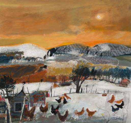 Christine Woodside RSW RGI, Hill Foot Hens, 2019