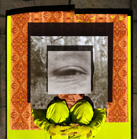 Jonny Briggs, Pyramid (self under image panels, with eye of Father) , 2017
