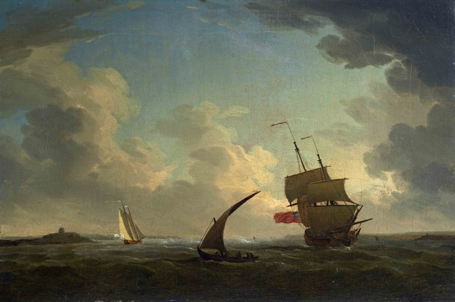 An English naval ship close-hauled at the mouth of the Tagus, with Belem Castle in the distance, a small lateen-rigged fishing boat in the foreground, and a gaff-rigged packet boat flying the Portuguese flag beyond