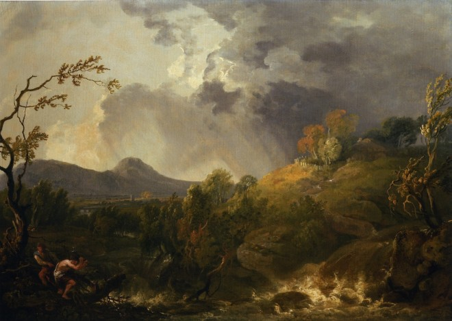 Two figures by a stream in a landscape with an approaching shower
