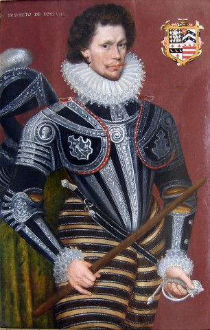Portrait in armour of Sir George Gill of Wyddial, Hertfordshire, dressed in Italian armour