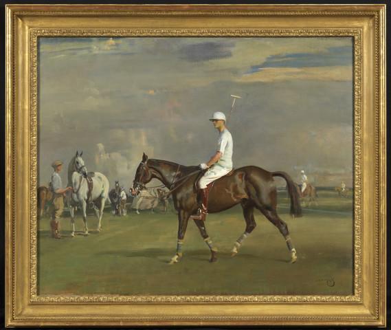 Sir Alfred J. Munnings, Robert Strawbridge II (1896-1986) on his bay polo pony