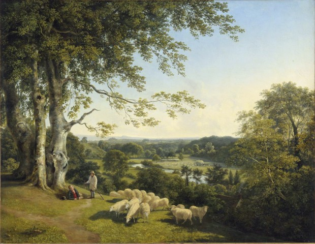 A pastoral landscape with shepherds tending their flock