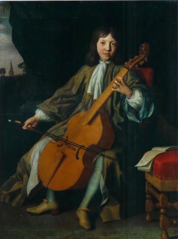 Portrait of Sir John Langham 4th Bart. as a boy aged 12 playing a bass Viola-da-gamba on a portico