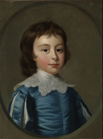 The eldest children of Charles Noel, 4th Duke of Beaufort: Head and shoulders portraits of Henry (1744-1803; later 5th Duke) a little boy dressed in blue Van Dyck costume, and his sister Lady Anne Somerset,  (1741-1763) in a white dress set with pink ribb