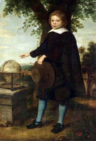 Full-length portrait of Jan Van Swieten standing in a landscape by a celestial globe on a stone plinth, holding broad-brimmed hat and pointing to the constellation of Ursa Major