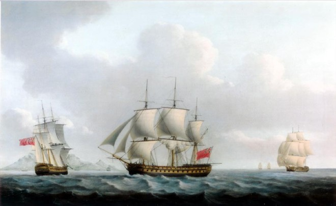 An English 3rd-rate ship-of-the line (74 guns) in three positions off Table Mountain, Cape Town, South Africa, flying the Royal Navy ensign
