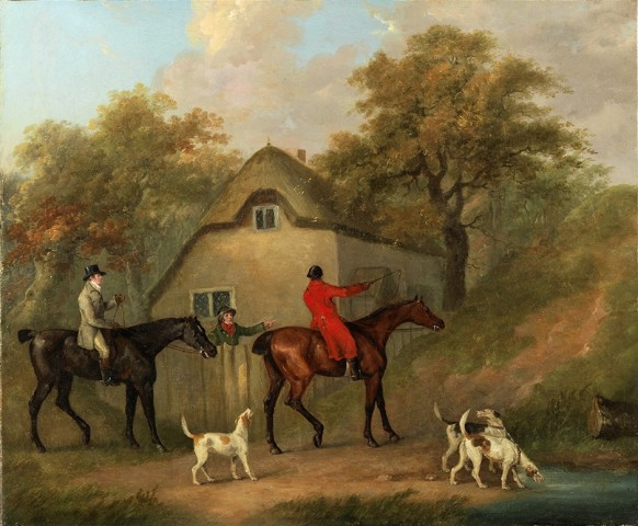 A huntsman on a bay, accompanied by three foxhounds and a member of the field on a dark bay,  talking to a farmer by a cottage