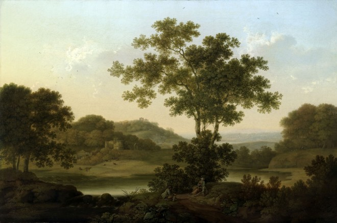 A wooded landscape with a country house, classical ruins on a distant hill, and three travellers resting in the foreground