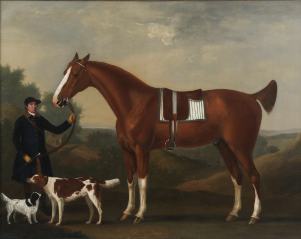John Beard, Groom to Captain Bertie, Holding %22Sportsman%22 aged 10, his Bay Hunter, and %22Sancho%22, his favourite dog