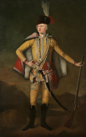 "Full length portrait of John 20th Earl of Crawford and Lindsay, ""The Gallant Earl of Crawford"" (1702-1749) dressed in Hussars' uniform holding a  musket and standing in a highland landscape"